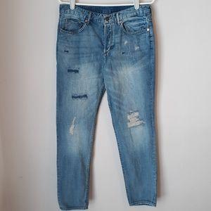 H&M Boyfriend Low Waist &Denim Distressed Jeans